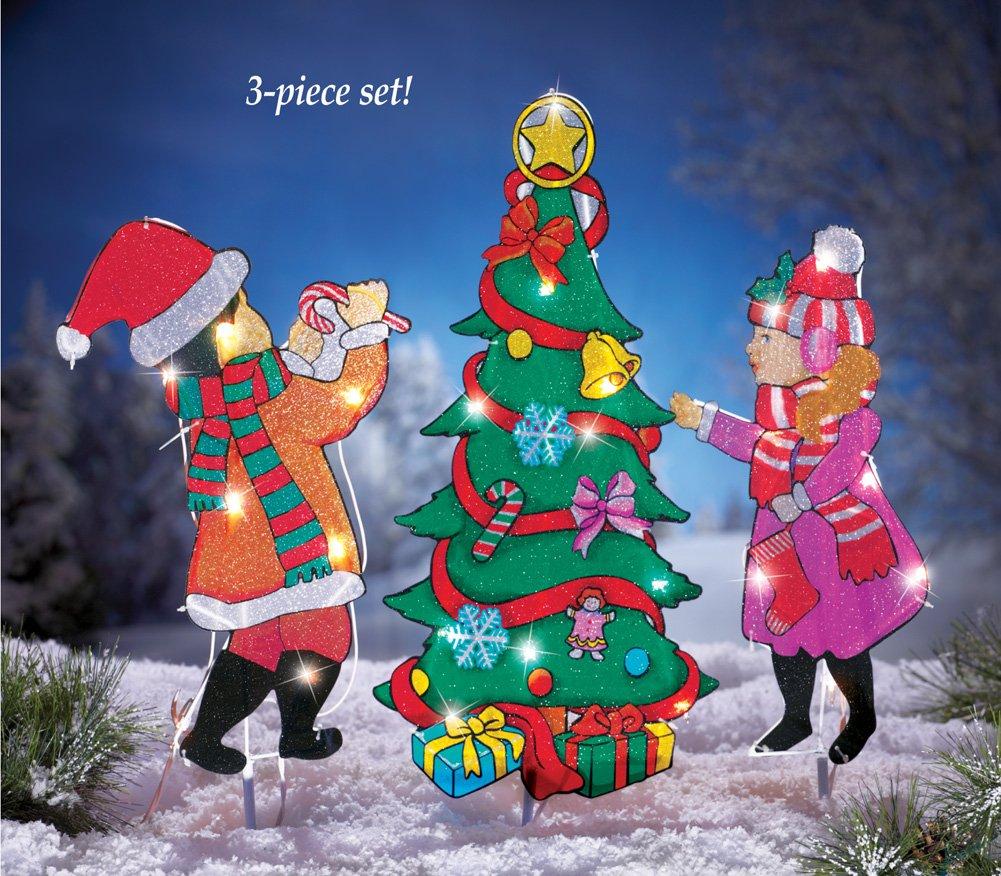 Set Of 3 Metal Christmas Carolers Outdoor Yard Display: Christmas Yard Stakes