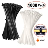 Cable zip ties 8 Inch -[ BULK 1000 PACK ]- Nylon wire ties Adjustable Durable Self locking 50 LB for Electronics Organization,Small Tie wraps Black White,Free Cable Mount (Tamaño: cable tie 900 pack)