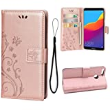 Wallet Case for Huawei Honor 7C/Huawei Y7 2018/Y7 Prime 2018, 3 Card Holder Embossed Butterfly Flower PU Leather Magnetic Flip Cover for Huawei Honor 7C/Huawei Y7 2018/Y7 Prime 2018(Rose Gold) (Color: A1-Rose Gold)