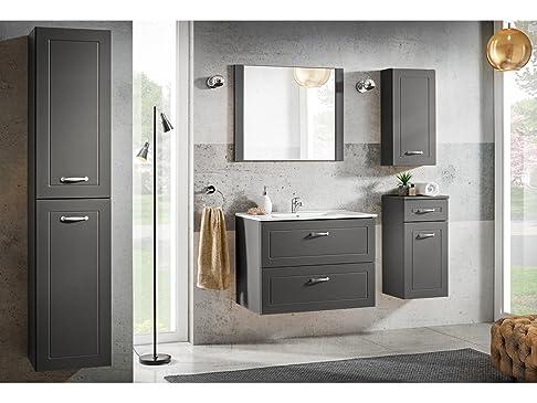 SET MOBILI DA BAGNO SOFIA Grigia con lavandino - grigio, Komplettes Set 80 cm