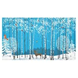 InterestPrint Home Decoration Christmas Winter Blue Birch Tree Deer Tablecloth Set 60 X 104 Inches - Animal Bird Forest White Snow Tablecover Desk Table Cloth Cover for Wedding Party Decor (Color: Multi, Tamaño: 60 X 104 inch)