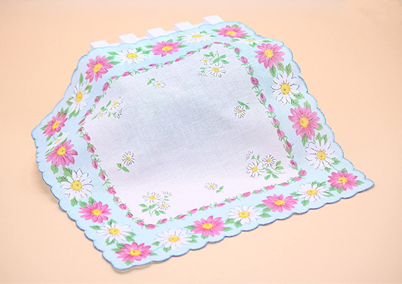 Colorful Women Quadrate Floral Handkerchiefs Wedding Party Fabric Hankies 2