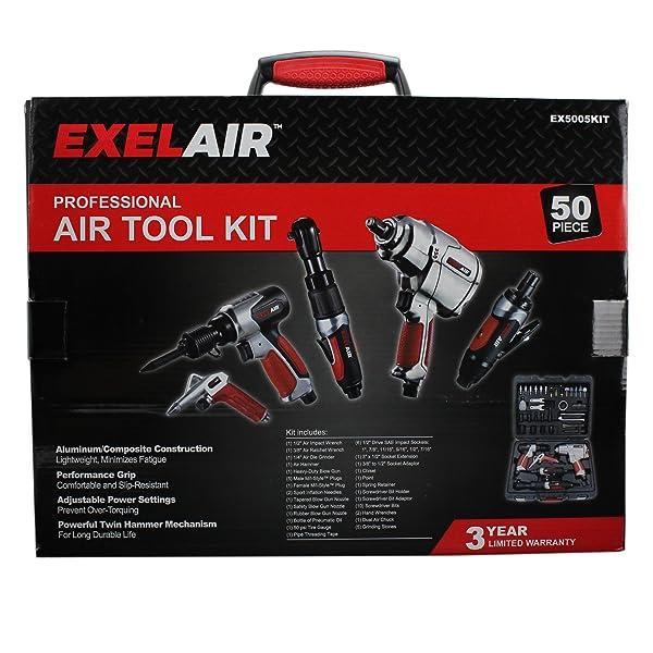 8e2b8ab6e5e EXELAIR by Milton EX5005KIT (50-Piece Professional Air Tool Accessory Kit)  - Impact Wrench