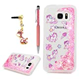 S7 Edge Case, Flowing Liquid 3D Glitter TPU Silicone Quicksand Case Floating Moving Bling Hearts Sparkly Print Clear Shockproof Gel Protective Cover for Samsung Galaxy S7 Edge by YOKIRIN, Unicorn