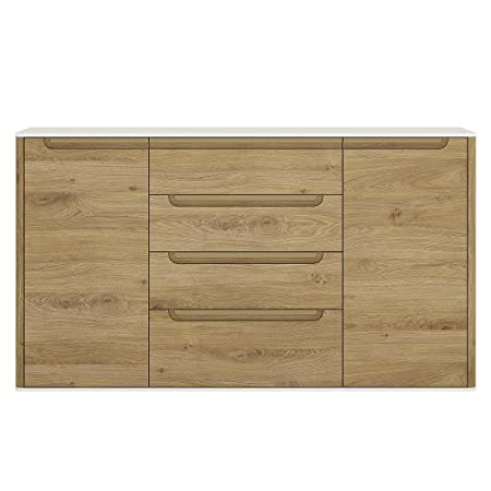 Furniture To Go Gobi 2-Door 4-Drawer Sideboard, 147.8 x 83.5 x 40 cm, Shetland Oak/White High Gloss