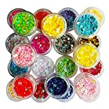 Happlee Manicure Glitter Sequin Confetti Slime Supplies Heart Shape Glitter for Scrapbooking Face Eye Nail Art DIY Slime Making Craft Drawing (24 Boxes)