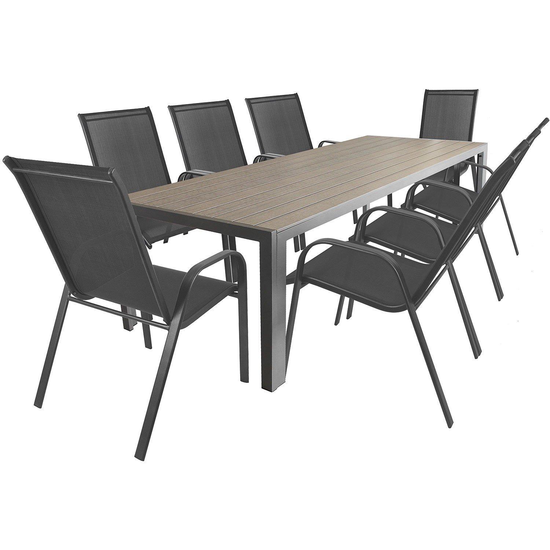 9tlg. Gartengarnitur Aluminium Gartentisch mit Polywood-Tischplatte 205x90cm + stapelbare Gartenstühle Stapelstühle mit 2×1 Textilenbespannung Terrassenmöbel Sitzgarnitur Sitzgruppe Gartenmöbel bestellen