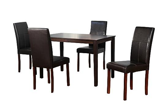 TMS Bettega Parson Dining Set, 5-Piece, Espresso
