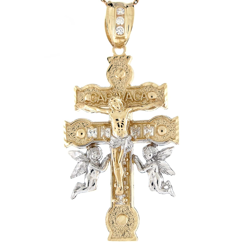 10k Two Tone Gold Jesus Angel Caravaca Cross Pendant|Amazon.com