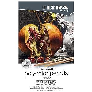 LYRA Rembrandt Polycolor Art Pencils, Set of 12 Pencils, Assorted Colors (2001120) (Color: Assorted, Tamaño: Set of 12)