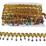 MELADY Pack of 10yards Bell Sequins Lace Tassel Dance Clothing Accessories Fringe Trim (Golden Colorful) (Color: golden colorful)