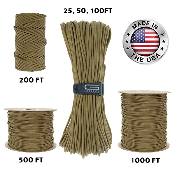 MADE IN USA 100/' ft COYOTE 550lb Paracord Cord Mil Spec Type III 7 Strand