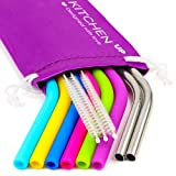 REGULAR SIZE Silicone Straws for 30 oz Tumbler & Stainless Steel Straws Bundle - 6 Silicone Straws for Yeti / Rtic / Ozark + 2 Brushes + 2 Metal Straws - Reusable Straws Extra Long + 1 Storage Pouch