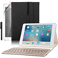 BoriYuan PU Leather Tri-fold Folio Stand Smart Cover with Aluminum Detachable Backlit Wireless Bluetooth Keyboard for 9.7