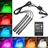 13ft Interior Car Atmosphere Light 12V RGB Mobile Phone Bluetooth Control Installed in Car Dashboard and Door 2pc LED Light Source Head 13FT