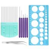 Meetory 8 Pcs Paper Craft Quilling Tools Kit -5 in 1 Different Size Quilling Slotted Tools, Ruler, Quilling Comb and Tweezer to DIY Flower Pattern Decoration
