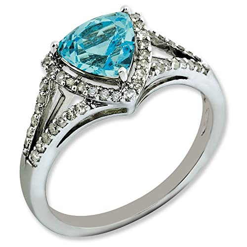 Sterling Silver Rough Diamond and Light Swiss Blue Topaz Ring - Ring Size Options Range: J to T
