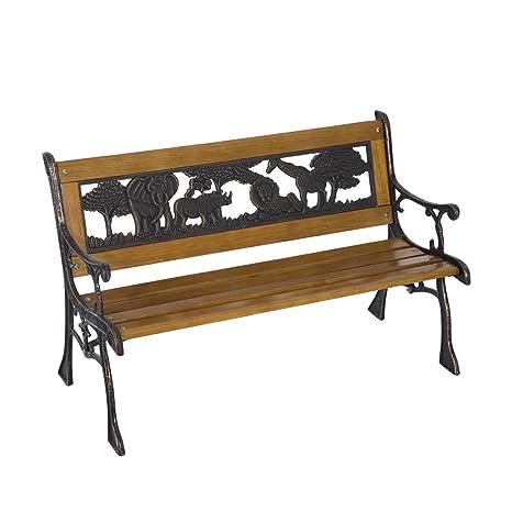LD Outsunny–Banco de jardín Asiento banco de parque banco de madera muebles de jardín infantil color marrón