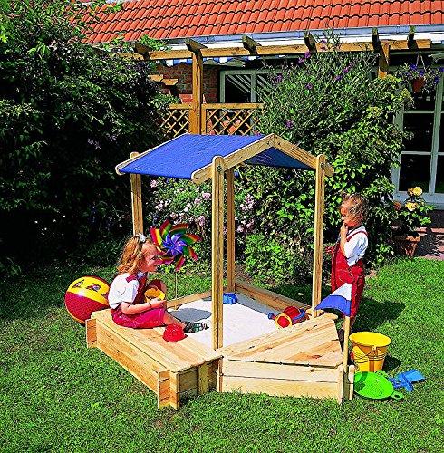 Sandkasten PETER PAN Sandkiste mit 2 Anbauboxen und Dach PROMADINO Kiefer online bestellen