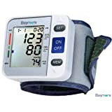 Baymore Digital Blood Pressure Monitor Wrist Cuff, Automatic BP Control Monitoring System with Large LCD Display, Adjustable Portable & Clinically Proven, Measures Heart Rate Pulse Hypertension