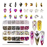 AB Crystal Rhinestones Set 3000 plus 120 Pieces, Multi Shape Glass Rhinestone with 5 Colors, Flatback AB Crystals for Nails, Clothes, Face, Jewelry