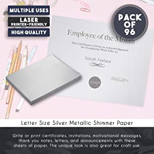 Shimmer Paper - 96 Pack-Silver Metallic Cardstock Paper, Double Sided, Laser Printer Friendly - Ideal for Weddings, Baby Showers, Birthdays, Craft, Letter Size Sheets, 250 GSM, 8.7 x 0.03 x 11 Inches (Color: Silver)