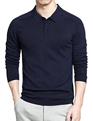 Gameyly Men's Long Sleeves Pullover Sweater-Knit Polo XL Navy Blue