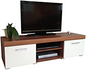 White & Walnut Sydney Large 2 Door TV Cabinet 140cm Unit       Customer reviews and more information