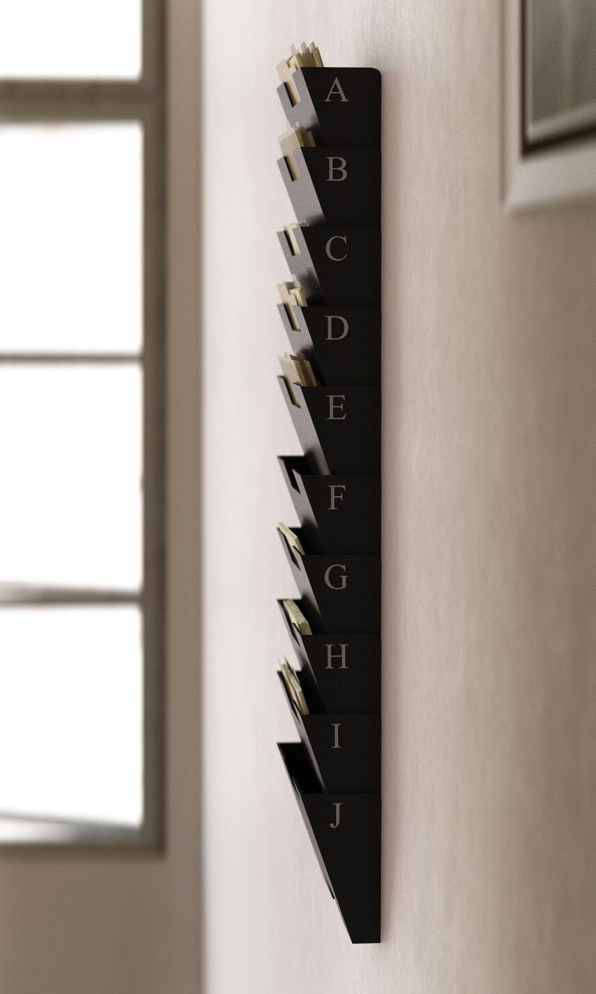 Black Wall Mount Steel File Holder Organizer Rack 10 Sectional Modular Design