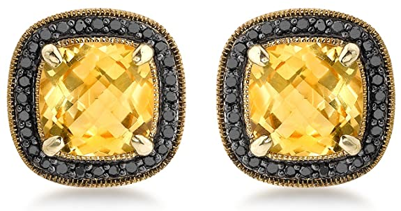 Carissima Gold 9ct Yellow Gold 0.18ct Black Diamond and Square Citrine Stud Earrings