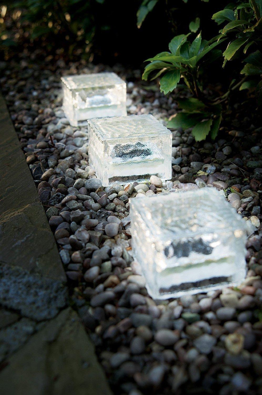 8er Set Wegeleuchte LED Solarleuchte Eisblock LED Solarlampe Eiswürfel Solar LED Glas - Solarlampen mit LED Beleuchtung Echtglas mit integriertem Dämmerungssensor- einmaliger Blickfang als Wegeleuchte oder Pfadbeleuchtung als auch als Beleuchtung für das Blumenbeet (8)