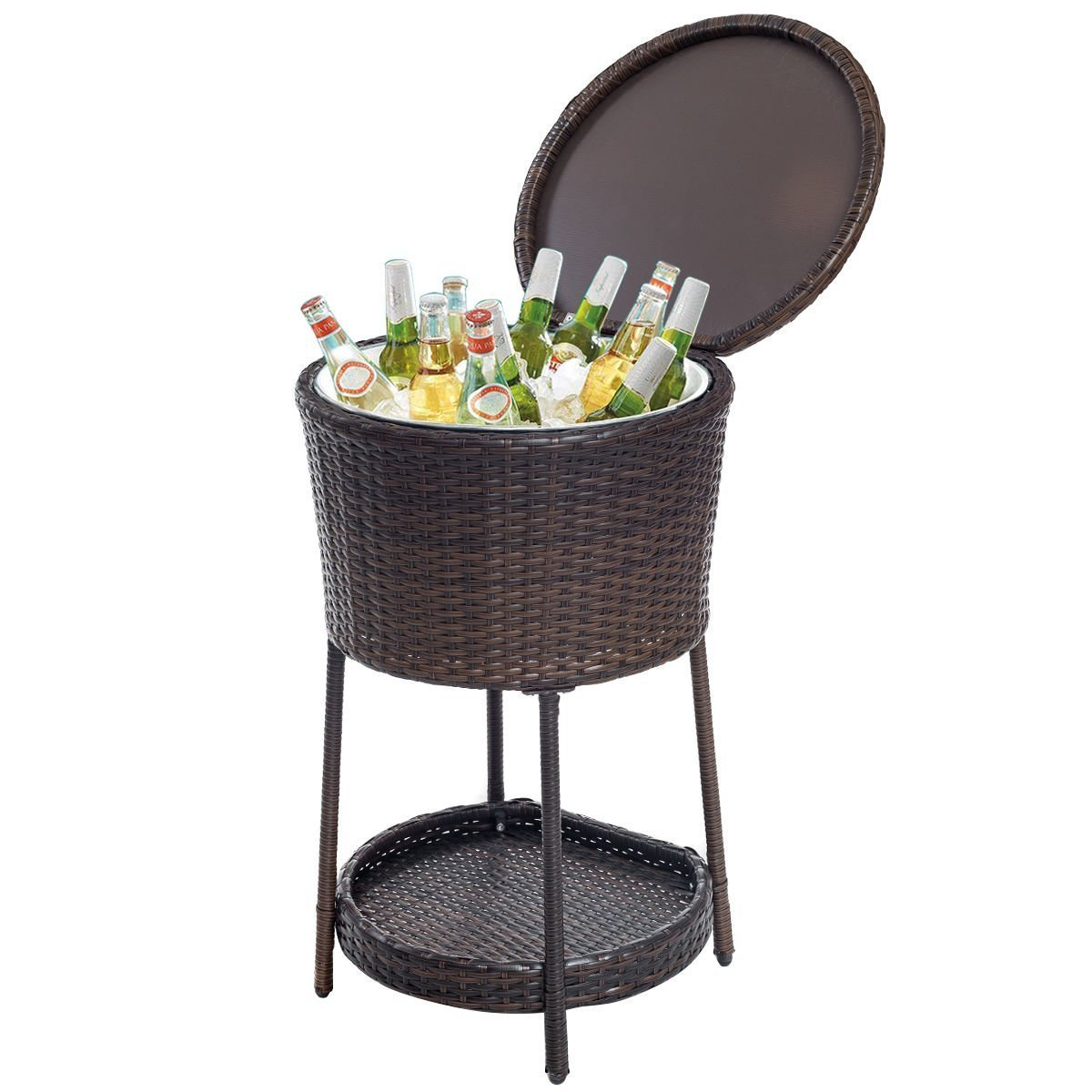 Giantex Rattan Ice Bucket Bar Table Cooler Patio Wicker Furniture, All-Weather Beverage Cooler with Tray