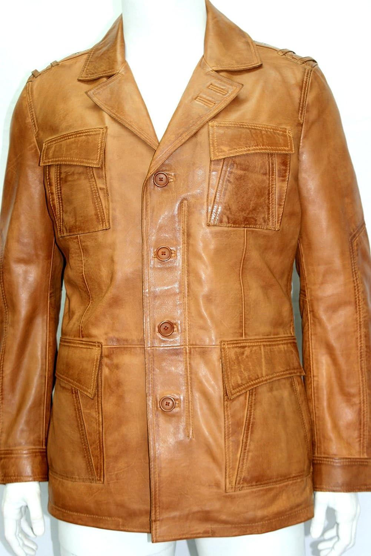 Man Safari beige gewachst weichem Nappaleder (Lammfell) Echtes Leder Oberschenkel Länge Jacken