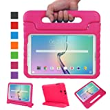 NEWSTYLE Tab E 9.6 Case - Shockproof Light Weight Protection Handle Stand Kids Case for Samsung Galaxy Tab E / Nook 9.6 Inch 2015 Tablet WiFi and Verizon 4G LTE Version (Magenta) Not Fit Other Tablet (Color: Magenta, Tamaño: Tab E 9.6)