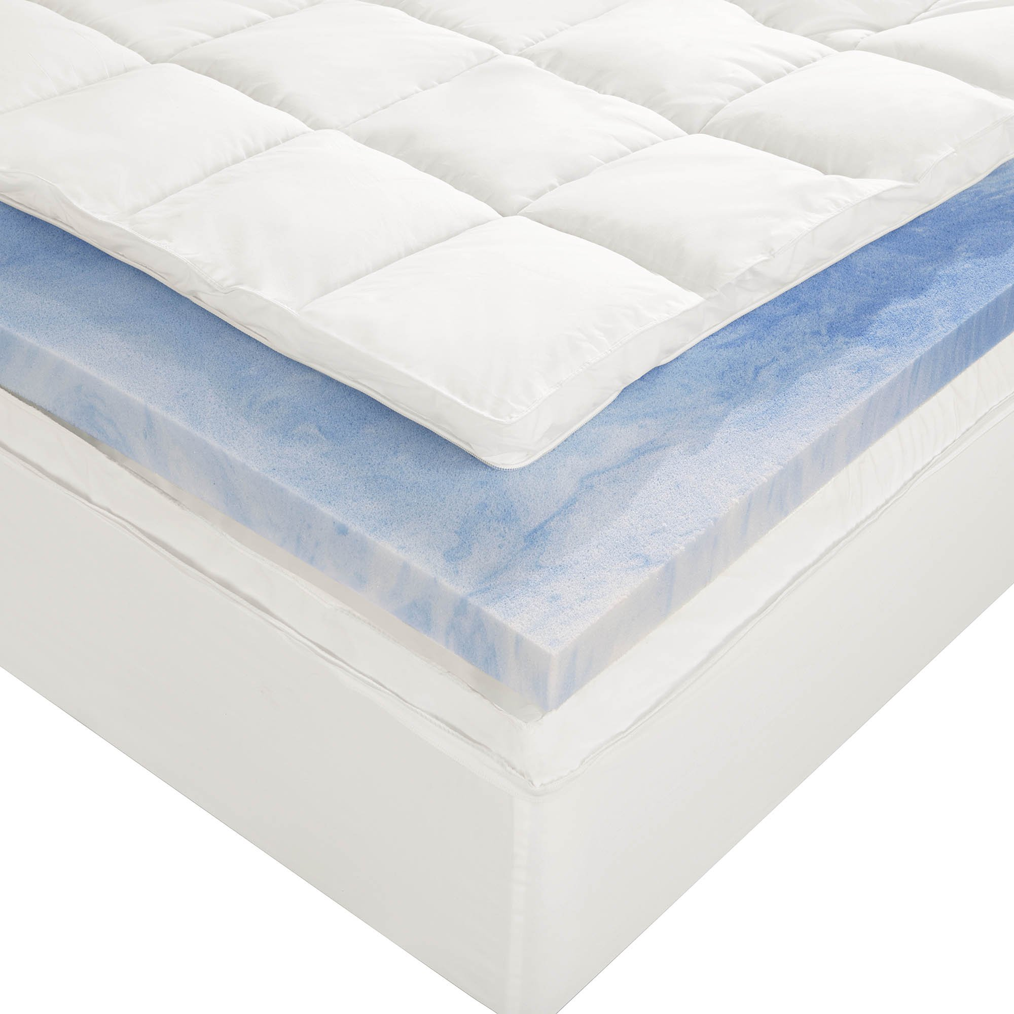 Sleep innovations 4 inch dual layer mattress topper gel memory foam and plu ebay 4 memory foam mattress topper
