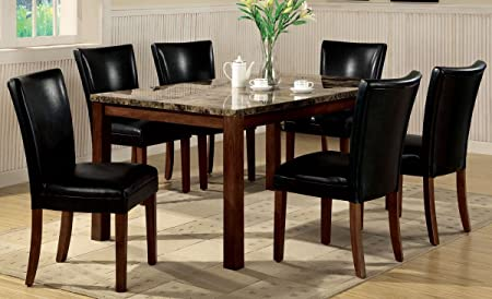 7pc Dining Table & Parson Chairs Set Black Leather Like Rich Cherry Finish