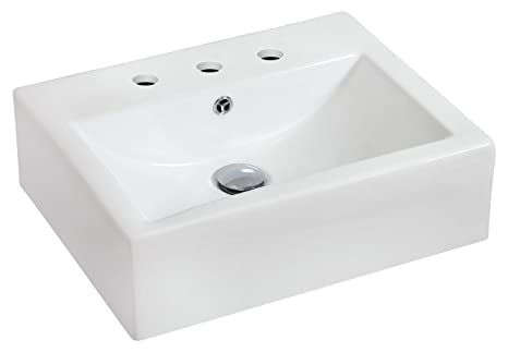 "Jade Bath JB-687 20.25"" W x 16.25"" D Wall Mount Rectangle Vessel for 8"" o.c. Faucet, White"
