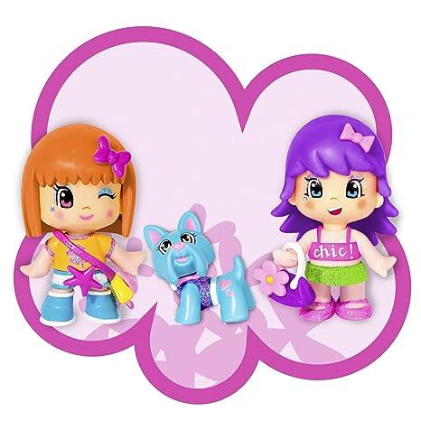 Famosa - Pinypon - 700007351 - Tube 3 Figurines - 2 Figurines - 1 Cheveux Violets, 1Cheveux Oranges + Un Chien