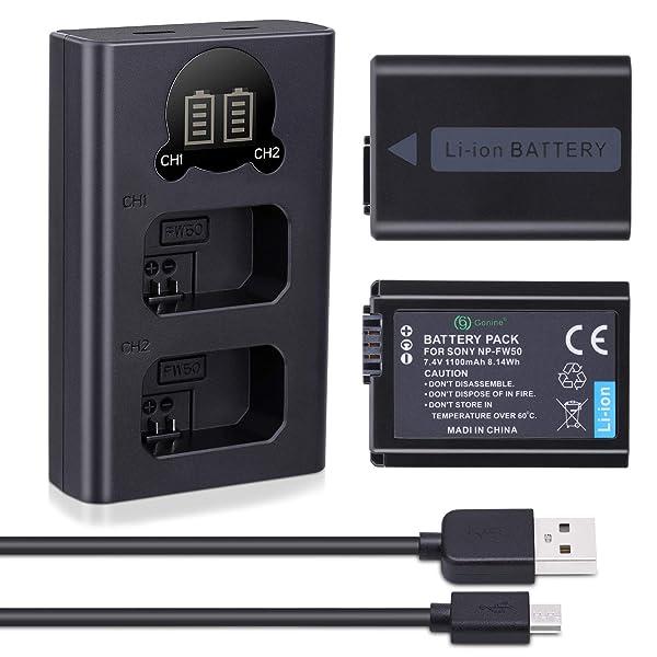 GONINE NP-FW50 BATERÍA DE CÁMARA, paquete de 2 y cargador con micro USB y puerto tipo C para Sony A6300, A6500, A7, A7II, A7SII, A7S, A7S2, A7R, A7R2, A7RII, A