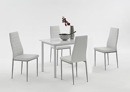 AnnaEsstisch Tisch,Wohnzimmertisch,Esszimmer tisch,Hochglanz weiß SimoneEsszimmerstuhle Stuhl Sitzgruppe Essgruppe Esszimmerstuhlweiß