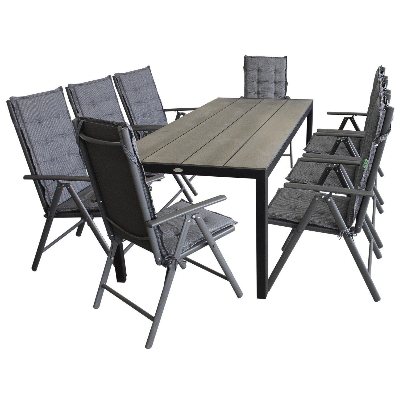 17tlg. Gartenmöbel Terrassenmöbel Set Sitzgarnitur Sitzgruppe Gartengarnitur Polywood 205x90cm + 8x Hochlehner, 2×2 Textilenbespannung, Lehne 7-fach verstellbar + 8x Stuhlauflage bestellen