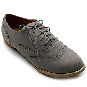 Ollio Women's Shoe Ballet Flat Faux Suede Wingtip Lace Up Oxford(5.5 B(M) US, Grey)