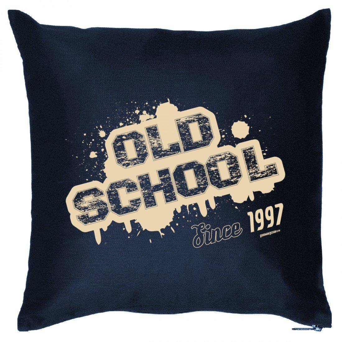 Couch Kissen mit Jahrgang zum Geburtstag – Old School since 1997 – Sofakissen Wendekissen mit Spruch und Humor günstig