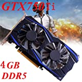 NXDA GTX 750Ti 4GB GDDR5 128bit VGA DVI HDMI Graphics Card With Fan For NVIDIA GeForce (Black) (Color: Black, Tamaño: 16.5x15x8.5cm)