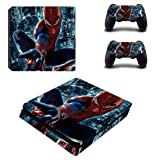 Adventure Games - PS4 SLIM - Spiderman - Playstation 4 Vinyl Console Skin Decal Sticker + 2 Controller Skins Set (Tamaño: PS4 SLIM)