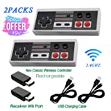 2 Pack Rechargeable NES Classic Mini Wireless Controller -TURBO EDITION-Rapid Buttons Edition for Nes Gaming System with 2.4G Wireless Receiver (Color: black-010, Tamaño: Middle)