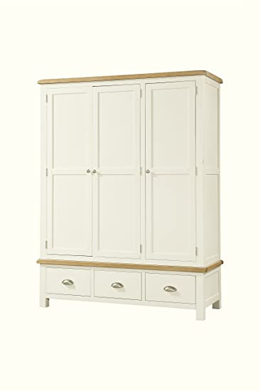 SOFT COTTON PAINTED OAK TRIPLE WARDROBE WITH DRAWER
