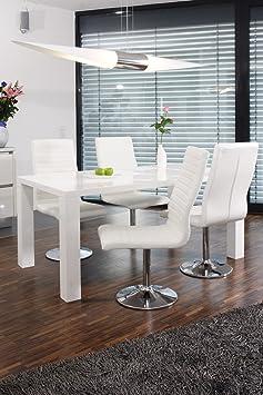 SalesFever Essgruppe Tisch 160x90cm weiß mit 4 Stuhlen Lio aus Kunstleder Luke schwarz