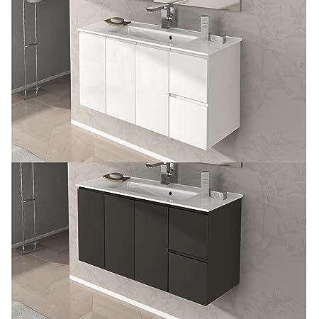 Mobile Arredo Bagno da 100 cm sospeso con lavabo ceramica bianco lucido grigio talpa