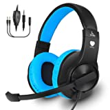 Gaming Headset for PS4, Xbox One, PC, Balleenshiny Surround Sound Over-Ear Headphones with Mic, Noise Isolation,Soft Memory Earmuffs and Volume Control for Nintendo Switch, Laptop, Mac, Smart phones (Color: Blue)